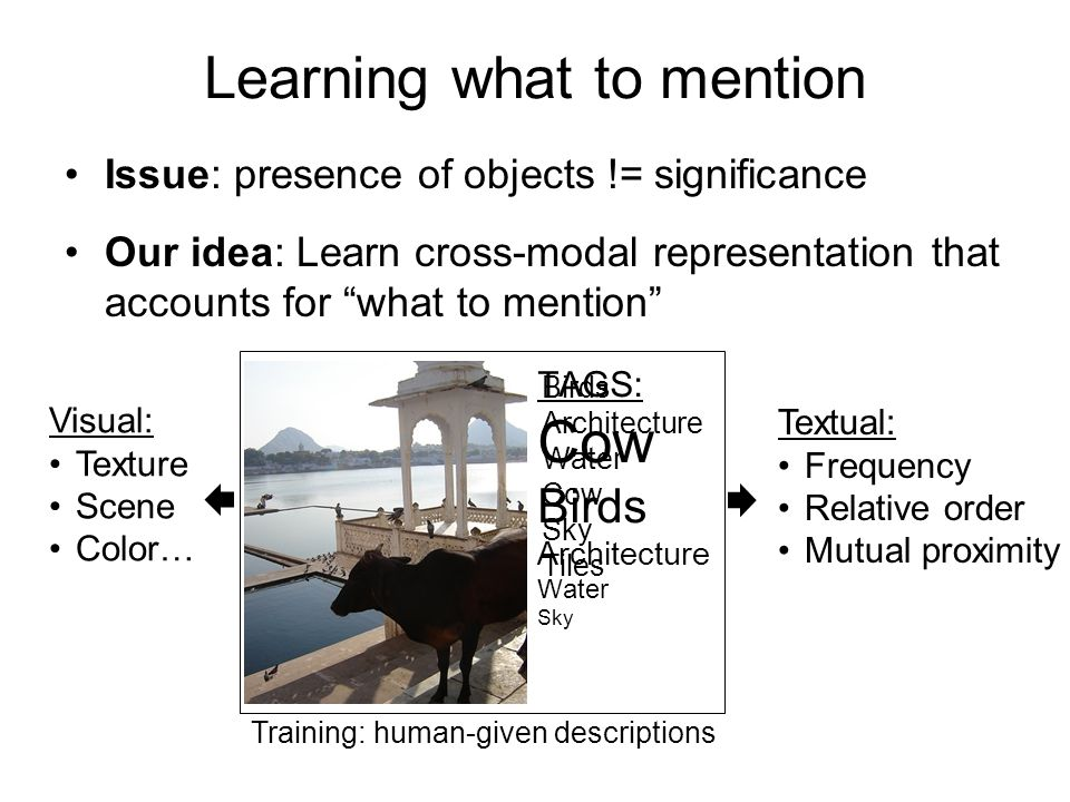Issue: presence of objects != significance Our idea: Learn cross-modal representation that accounts for what to mention Learning what to mention Textual: Frequency Relative order Mutual proximity Visual: Texture Scene Color… TAGS: Cow Birds Architecture Water Sky Training: human-given descriptions Birds Architecture Water Cow Sky Tiles