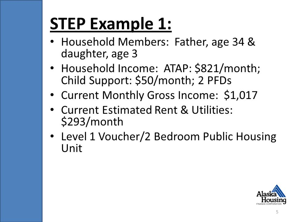 STEP Example 1: Household Members: Father, age 34 & daughter, age 3 Household Income: ATAP: $821/month; Child Support: $50/month; 2 PFDs Current Monthly Gross Income: $1,017 Current Estimated Rent & Utilities: $293/month Level 1 Voucher/2 Bedroom Public Housing Unit 5