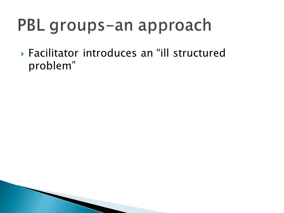 " Facilitator introduces an ""ill structured problem"""
