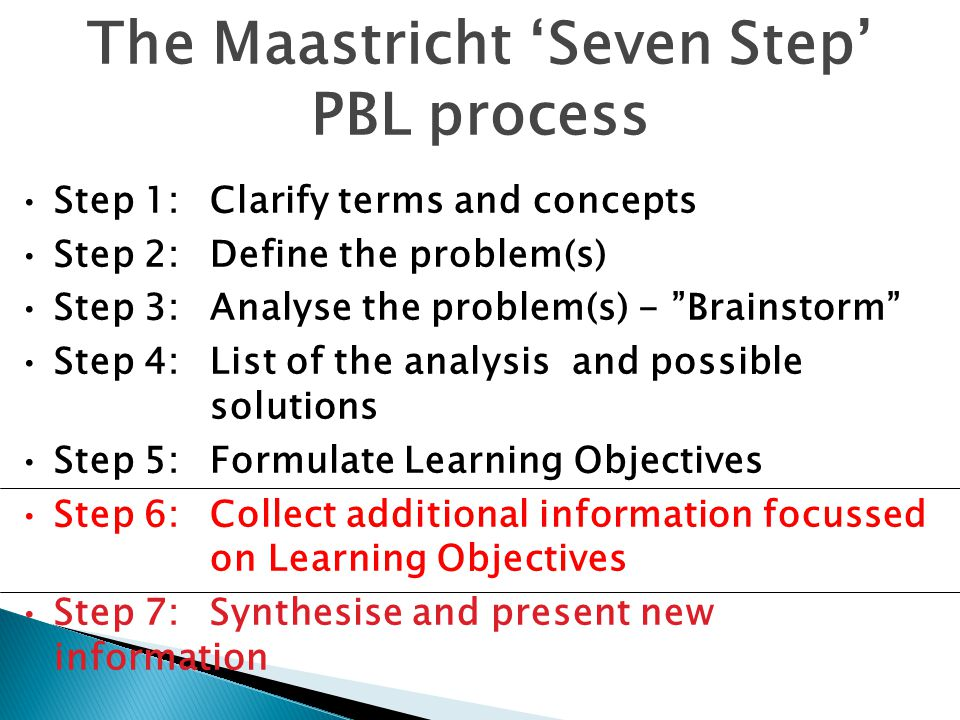 "The Maastricht 'Seven Step' PBL process Step 1:Clarify terms and concepts Step 2:Define the problem(s) Step 3:Analyse the problem(s) - ""Brainstorm"" St"