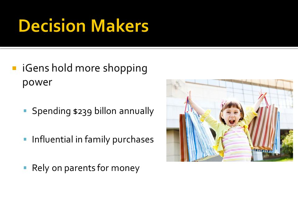  iGens hold more shopping power  Spending $239 billon annually  Influential in family purchases  Rely on parents for money