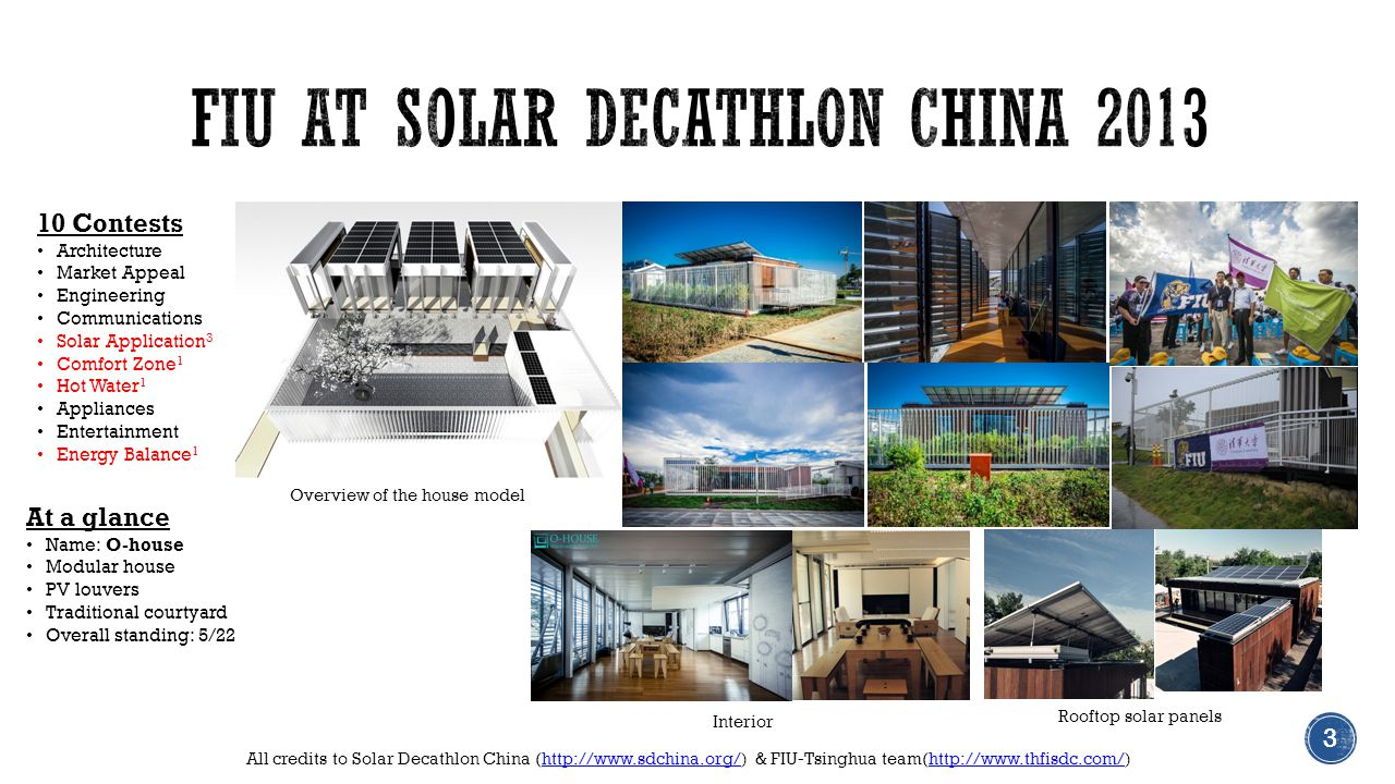 All credits to Solar Decathlon China (http://www.sdchina.org/) & FIU-Tsinghua team(http://www.thfisdc.com/)http://www.sdchina.org/http://www.thfisdc.com/ Interior 3 Overview of the house model Rooftop solar panels 3 10 Contests Architecture Market Appeal Engineering Communications Solar Application 3 Comfort Zone 1 Hot Water 1 Appliances Entertainment Energy Balance 1 At a glance Name: O-house Modular house PV louvers Traditional courtyard Overall standing: 5/22