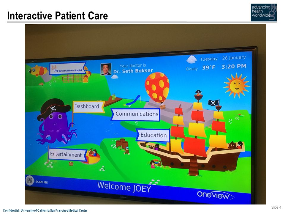 Confidential: University of California San Francisco Medical Center Slide 5 Interactive Patient Care