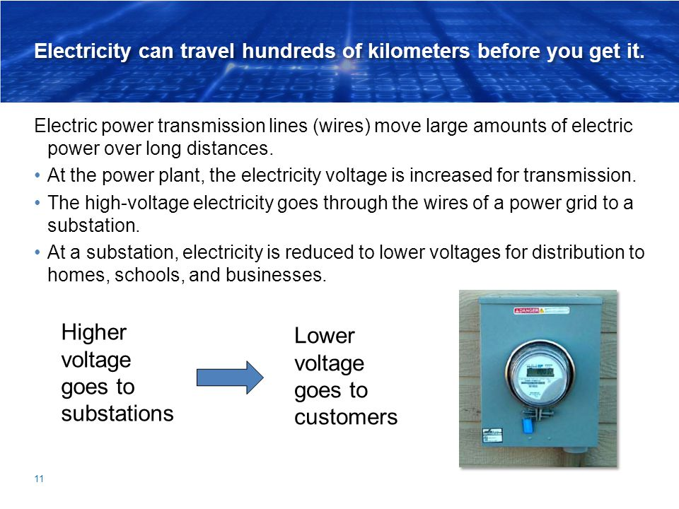 Electricity can travel hundreds of kilometers before you get it. Electric power transmission lines (wires) move large amounts of electric power over l