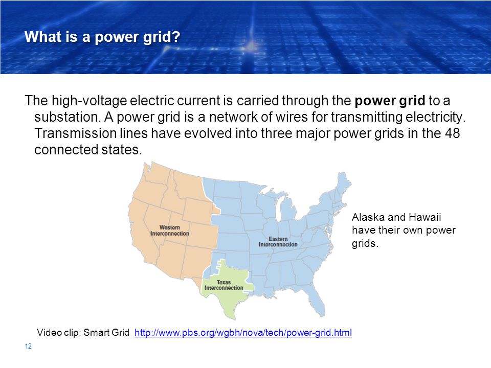 What is a power grid? The high-voltage electric current is carried through the power grid to a substation. A power grid is a network of wires for tran