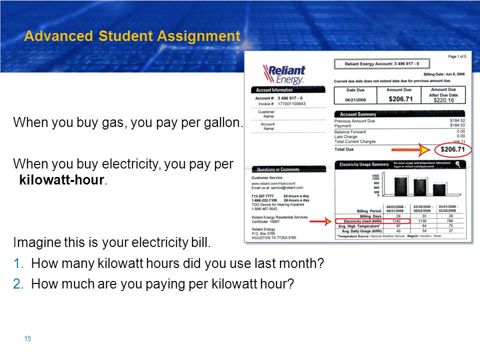 15 Advanced Student Assignment When you buy gas, you pay per gallon. When you buy electricity, you pay per kilowatt-hour. Imagine this is your electri