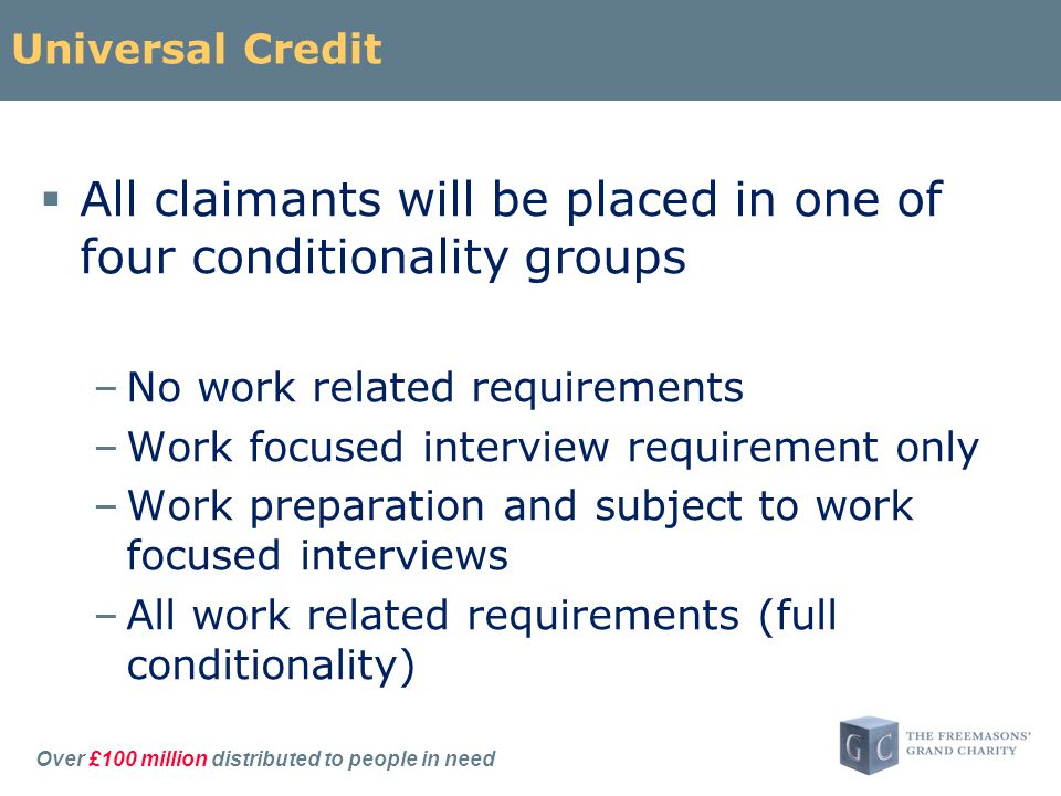 Over £100 million distributed to people in need Universal Credit  All claimants will be placed in one of four conditionality groups –No work related requirements –Work focused interview requirement only –Work preparation and subject to work focused interviews –All work related requirements (full conditionality)