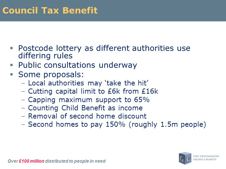 Over £100 million distributed to people in need Council Tax Benefit  Postcode lottery as different authorities use differing rules  Public consultations underway  Some proposals: –Local authorities may 'take the hit' –Cutting capital limit to £6k from £16k –Capping maximum support to 65% –Counting Child Benefit as income –Removal of second home discount –Second homes to pay 150% (roughly 1.5m people)