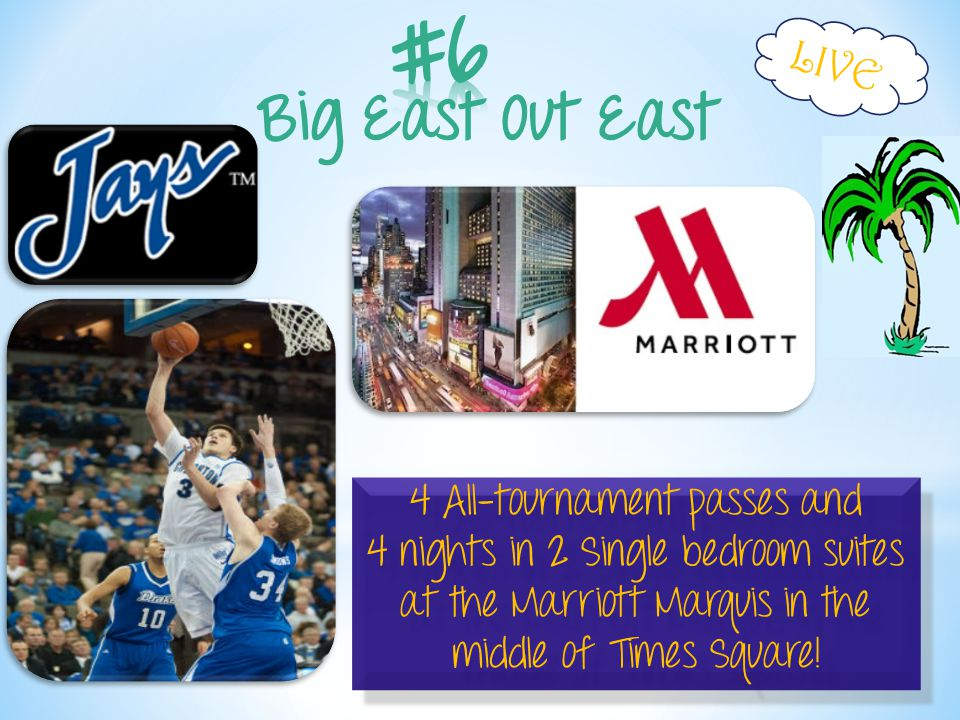 Big East Out East LIVE 4 All-tournament passes and 4 nights in 2 Single bedroom suites at the Marriott Marquis in the middle of Times Square.