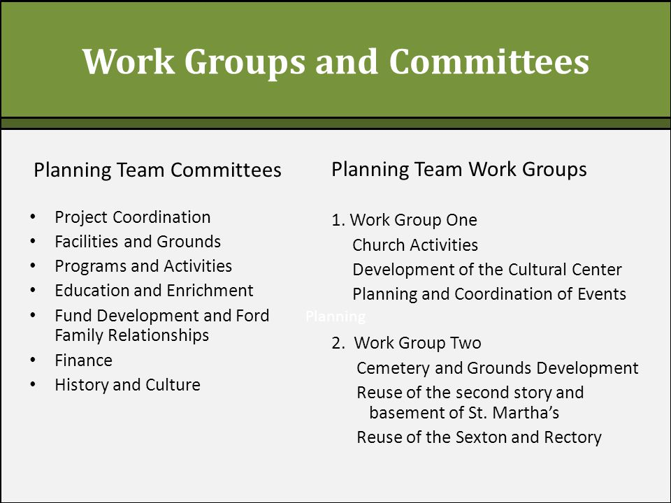 Planning Work Groups and Committees Planning Team Committees Project Coordination Facilities and Grounds Programs and Activities Education and Enrichment Fund Development and Ford Family Relationships Finance History and Culture Planning Team Work Groups 1.