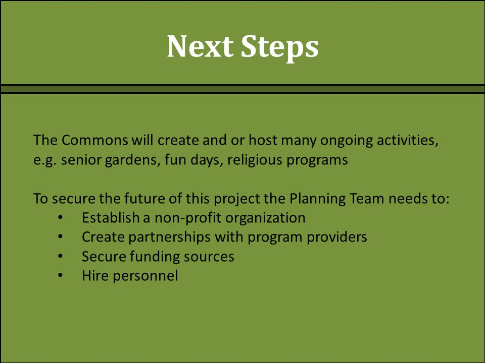 Next Steps The Commons will create and or host many ongoing activities, e.g.