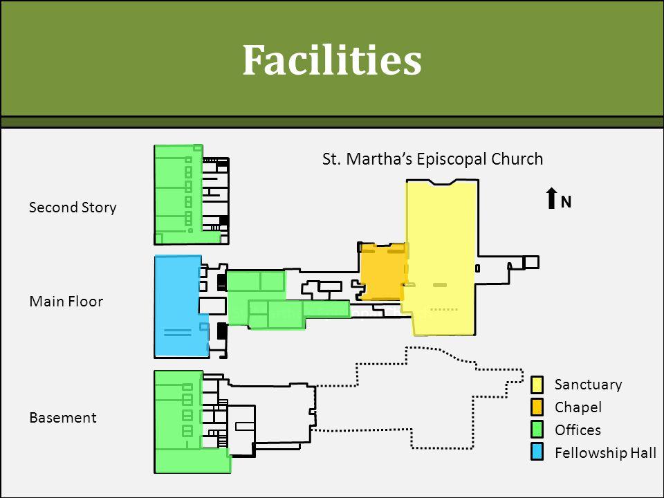 St. Martha's Episcopal Church Facilities Second Story Main Floor Basement N St.