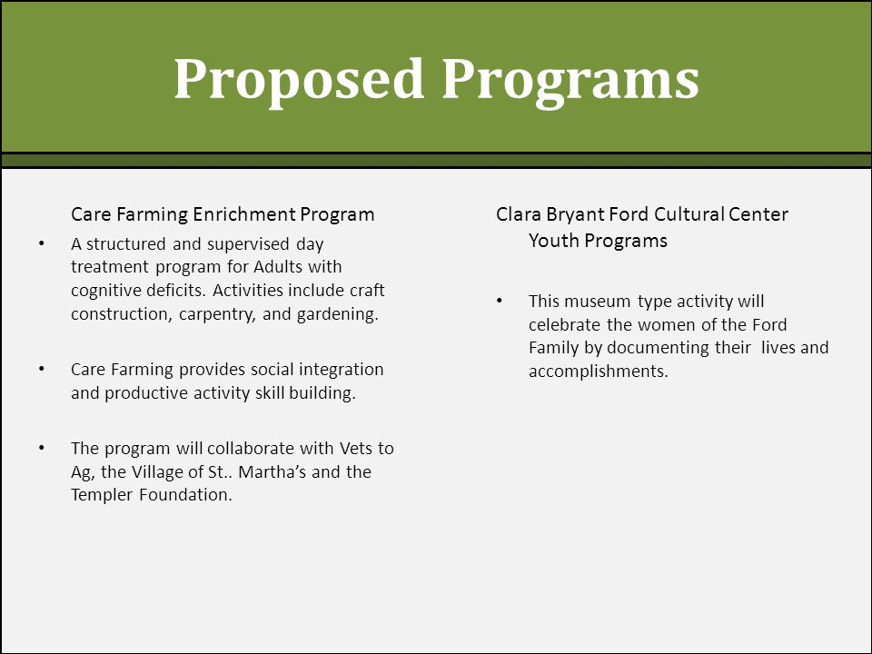 Proposed Programs Care Farming Enrichment Program A structured and supervised day treatment program for Adults with cognitive deficits.