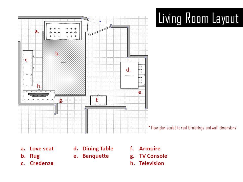 Living Room Layout a.b. c. d. e. f.g. h.