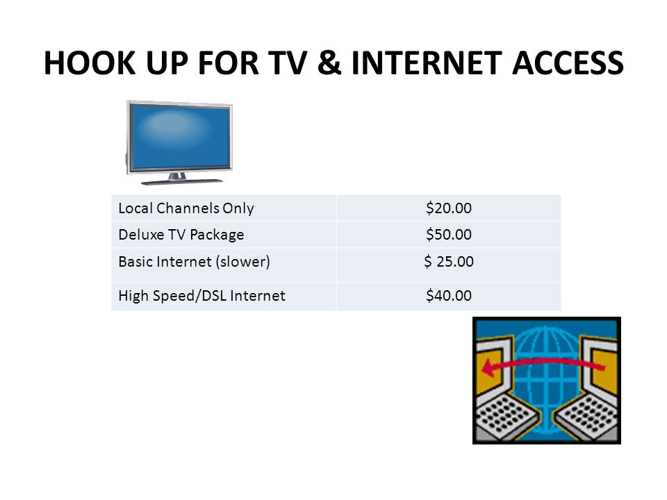 HOOK UP FOR TV & INTERNET ACCESS Local Channels Only$20.00 Deluxe TV Package$50.00 Basic Internet (slower)$ 25.00 High Speed/DSL Internet$40.00