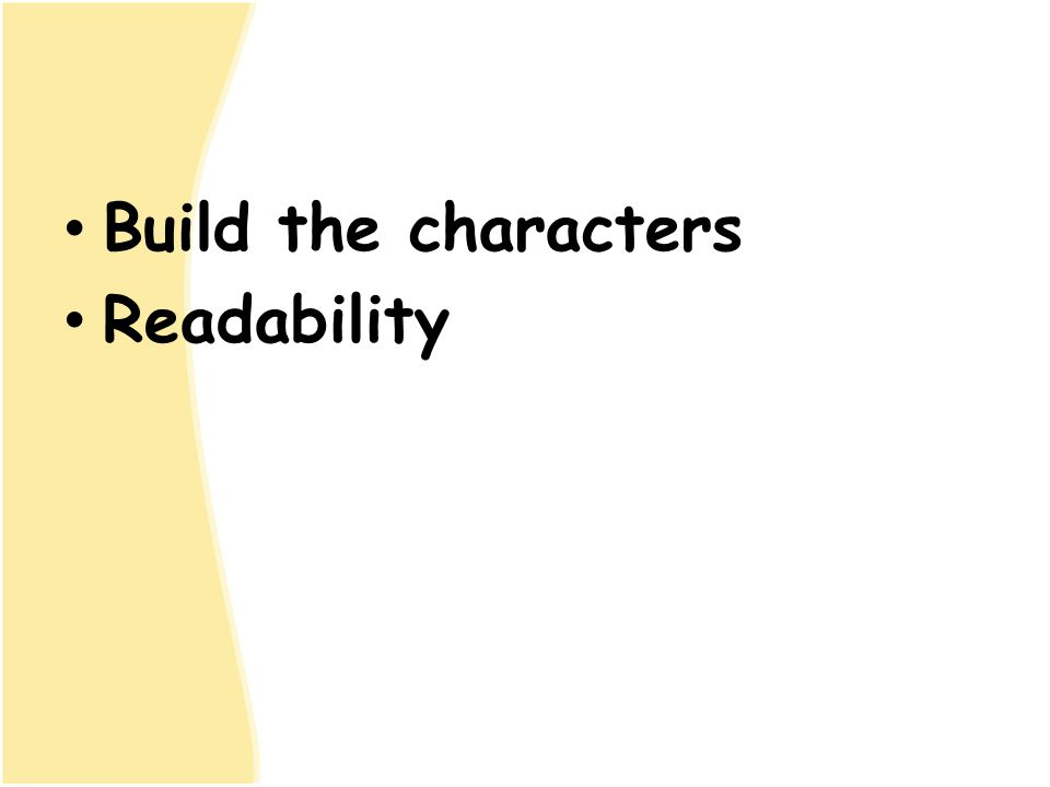 Build the characters Readability