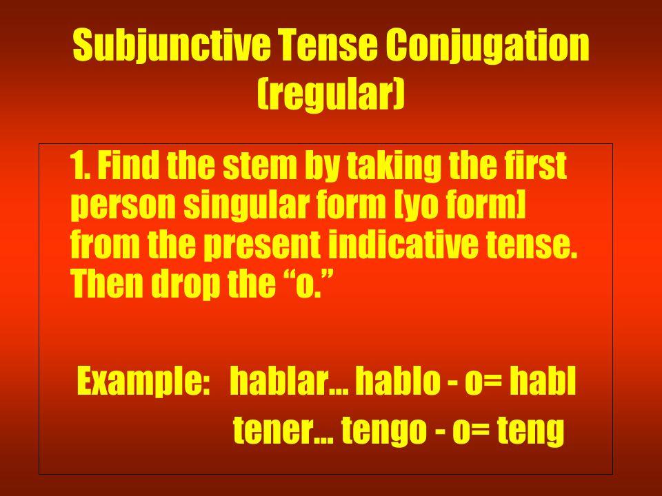 Subjunctive Tense Conjugation (regular) 1.