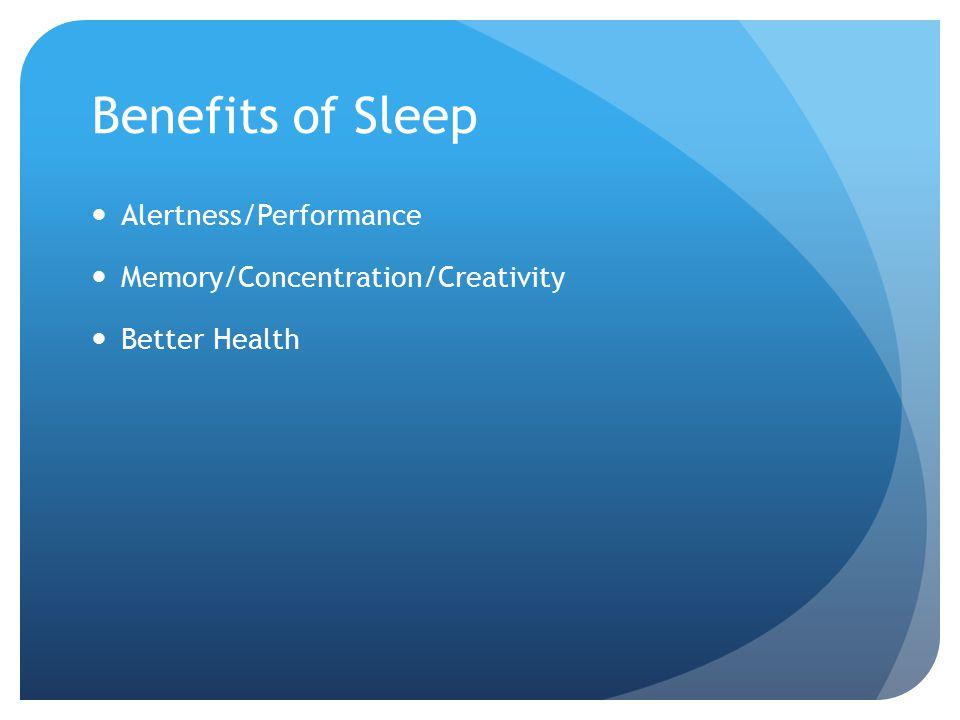 Benefits of Sleep Alertness/Performance Memory/Concentration/Creativity Better Health