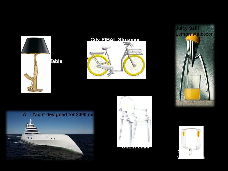 'A' - Yacht designed for $300 mn Juicy Salif Lemon squeezer Flos Table Gun Ghost chair City PIBAL Streamer Pramac Wind turbine A few famous Starck designs