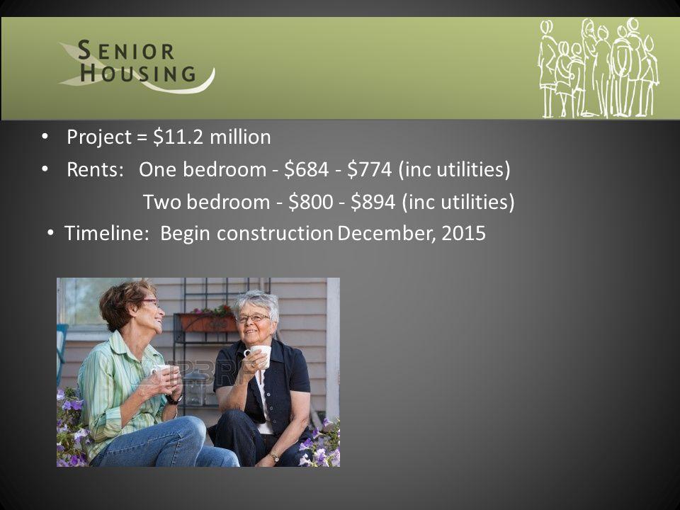 Project = $11.2 million Rents: One bedroom - $684 - $774 (inc utilities) Two bedroom - $800 - $894 (inc utilities) Timeline: Begin construction Decemb