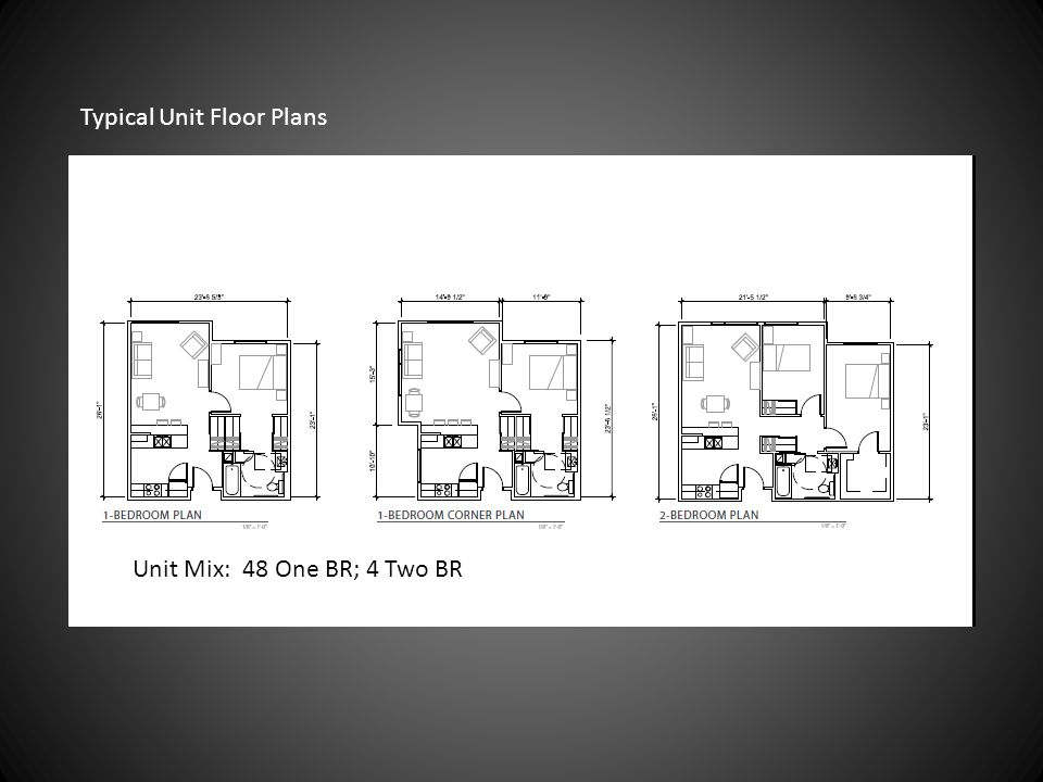 Typical Unit Floor Plans Unit Mix: 48 One BR; 4 Two BR