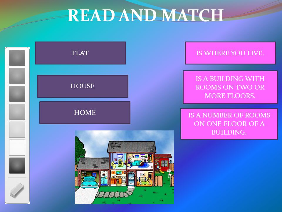 READ AND MATCH FLAT HOUSE HOME IS WHERE YOU LIVE. IS A BUILDING WITH ROOMS ON TWO OR MORE FLOORS.