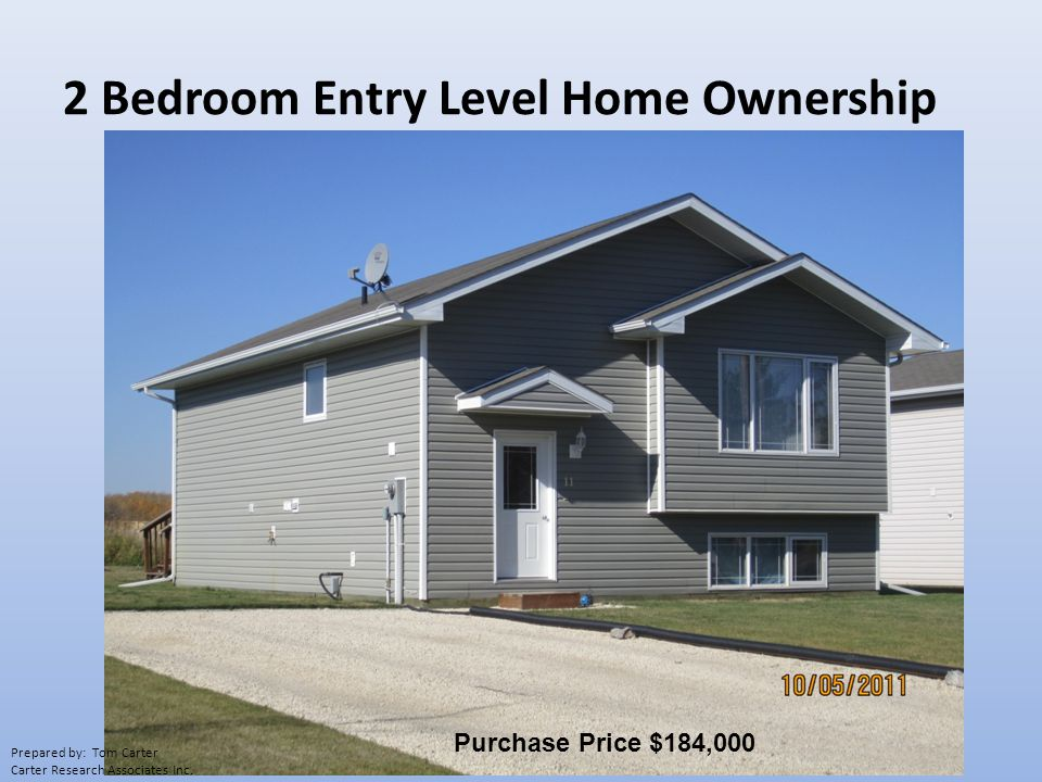 2 Bedroom Entry Level Home Ownership Purchase Price $184,000 Prepared by: Tom Carter Carter Research Associates Inc.