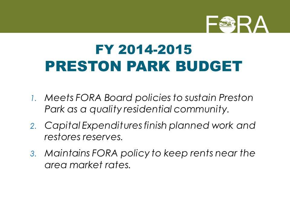 August 2010 – 1.8% Increase (area CPI) August 2011 – No Increase (CPI=1.7%) August 2012 – 3.0% Increase delayed until February 2013 (CPI=3%) September 2013 – 2.4% Increase (area CPI) Preston Park Rent Adjustments 4