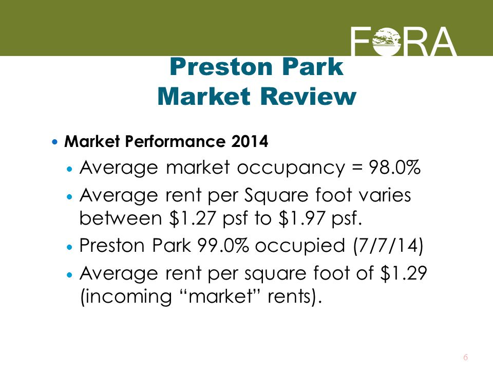 Preston Park Market Review Market Performance 2014 Average market occupancy = 98.0% Average rent per Square foot varies between $1.27 psf to $1.97 psf.