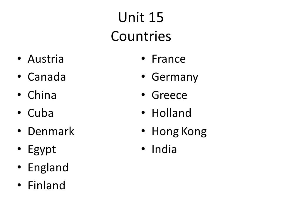 Unit 15 Countries Austria Canada China Cuba Denmark Egypt England Finland France Germany Greece Holland Hong Kong India