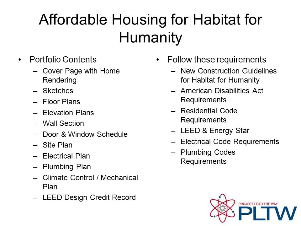 Affordable Housing for Habitat for Humanity Portfolio Contents –Cover Page with Home Rendering –Sketches –Floor Plans –Elevation Plans –Wall Section –Door & Window Schedule –Site Plan –Electrical Plan –Plumbing Plan –Climate Control / Mechanical Plan –LEED Design Credit Record Follow these requirements –New Construction Guidelines for Habitat for Humanity –American Disabilities Act Requirements –Residential Code Requirements –LEED & Energy Star –Electrical Code Requirements –Plumbing Codes Requirements