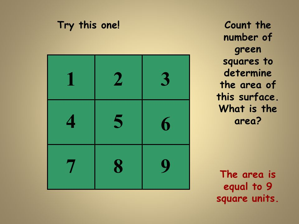 Count the number of green squares to determine the area of this surface. What is the area? The area is equal to 9 square units. Try this one! 1 5 2 4