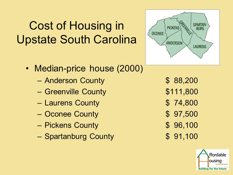 Cost of Housing in Upstate South Carolina FMR Rental Unit – Monthly Rent –Anderson,Greenville, Pickens, & Spartanburg Counties 0 BR $354  1BR $428  2 BR $483 3BR $609  4BR $716 –Laurens & Oconee Counties 0 BR $287  1BR $335  2 BR $407 3BR $523  4BR $598 Insert map of Upstate six counties