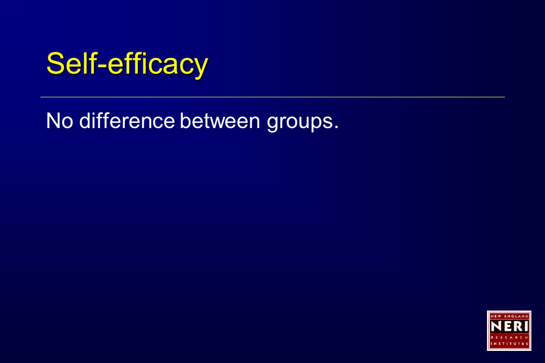 Self-efficacy No difference between groups.