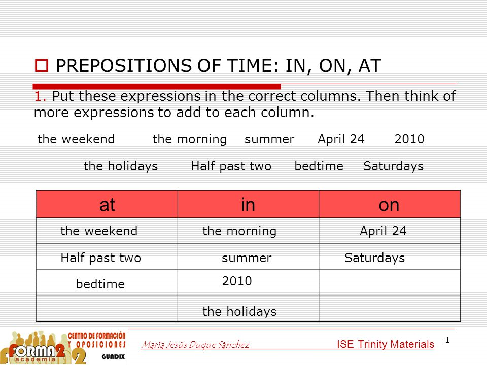 1  PREPOSITIONS OF TIME: IN, ON, AT atinon 1. Put these expressions in the correct columns. Then think of more expressions to add to each column. the