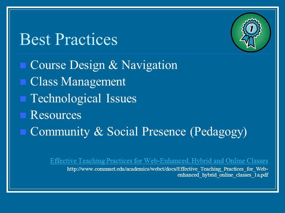 Best Practices Course Design & Navigation Class Management Technological Issues Resources Community & Social Presence (Pedagogy) Effective Teaching Pr
