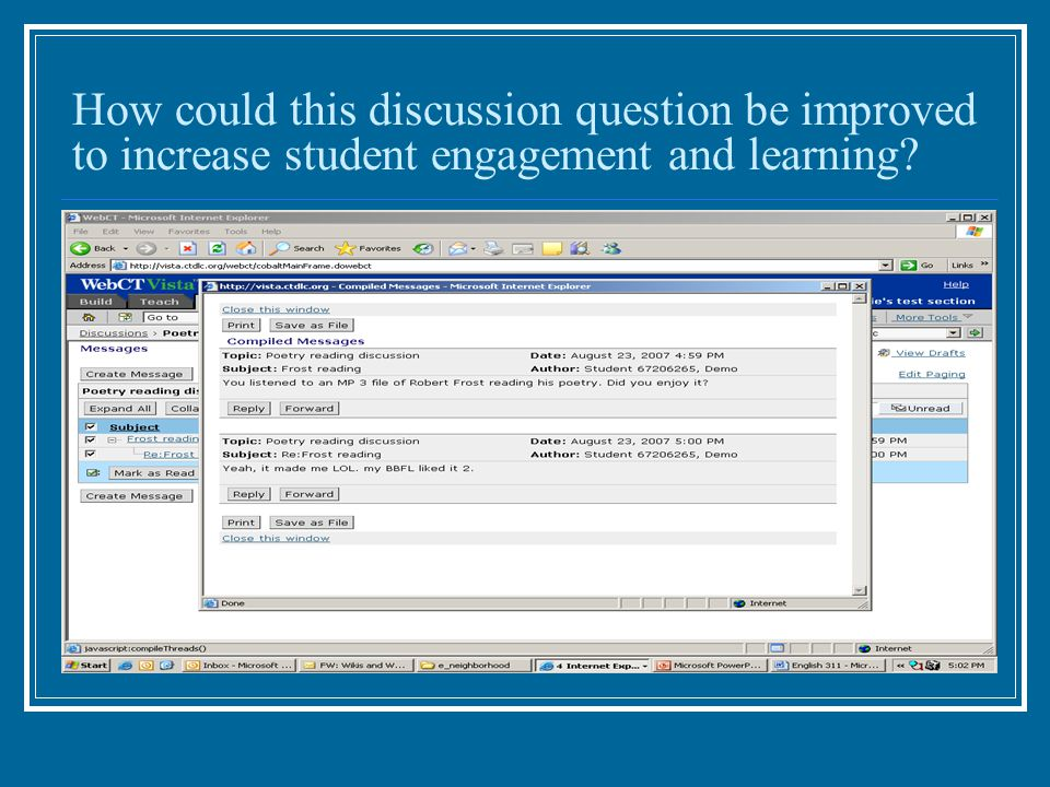 How could this discussion question be improved to increase student engagement and learning?