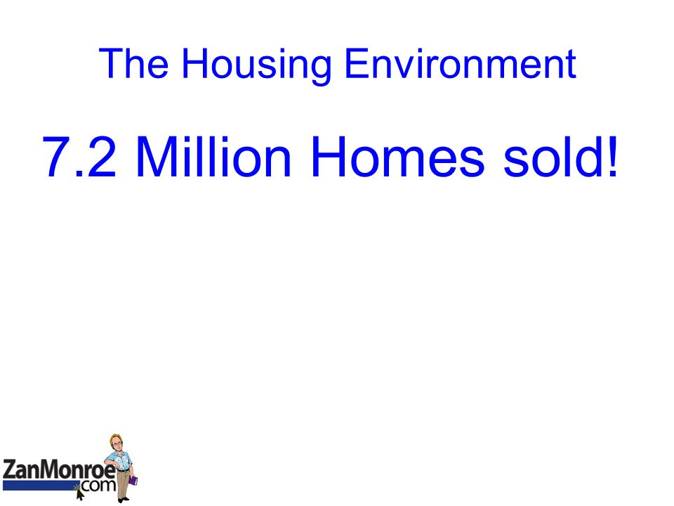 The Housing Environment 7.2 Million Homes sold!