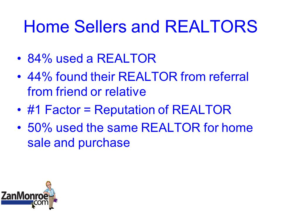 Home Sellers and REALTORS 84% used a REALTOR 44% found their REALTOR from referral from friend or relative #1 Factor = Reputation of REALTOR 50% used the same REALTOR for home sale and purchase