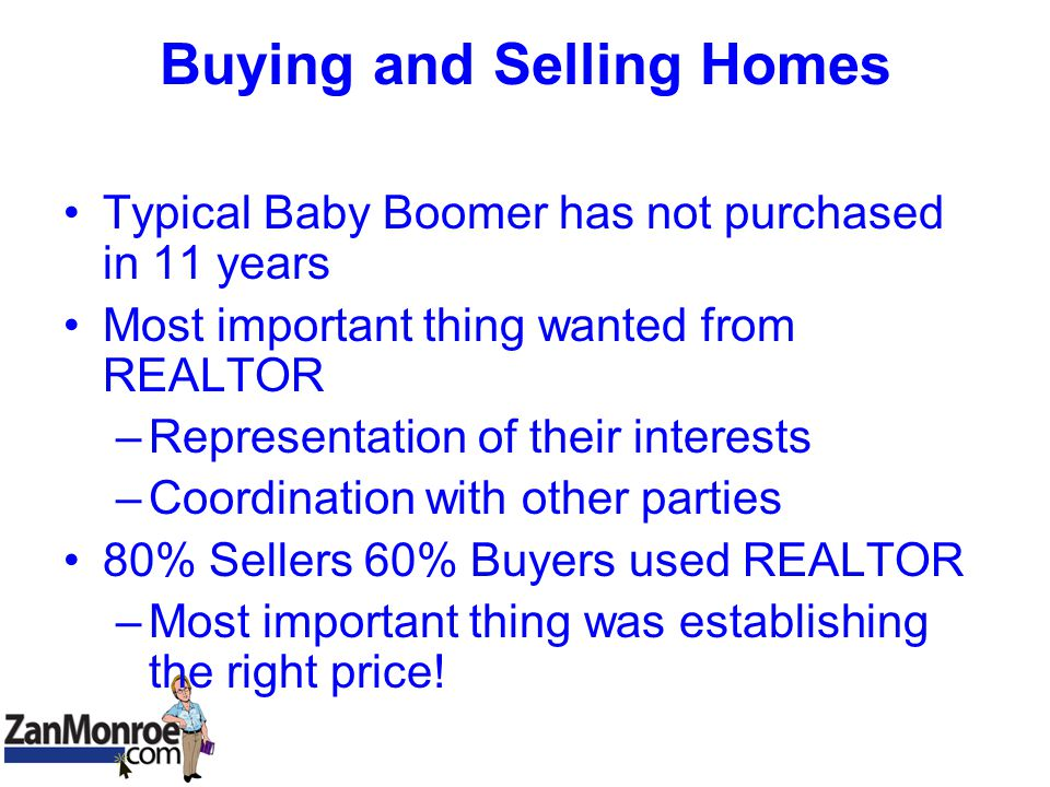 Buying and Selling Homes Typical Baby Boomer has not purchased in 11 years Most important thing wanted from REALTOR –Representation of their interests –Coordination with other parties 80% Sellers 60% Buyers used REALTOR –Most important thing was establishing the right price!
