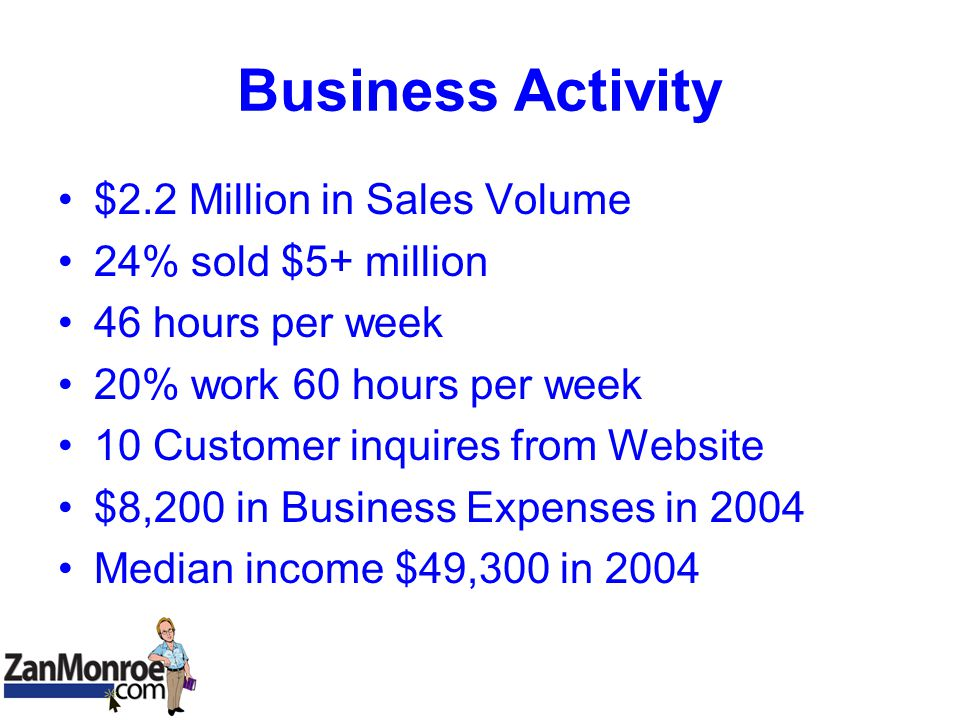 Business Activity $2.2 Million in Sales Volume 24% sold $5+ million 46 hours per week 20% work 60 hours per week 10 Customer inquires from Website $8,200 in Business Expenses in 2004 Median income $49,300 in 2004
