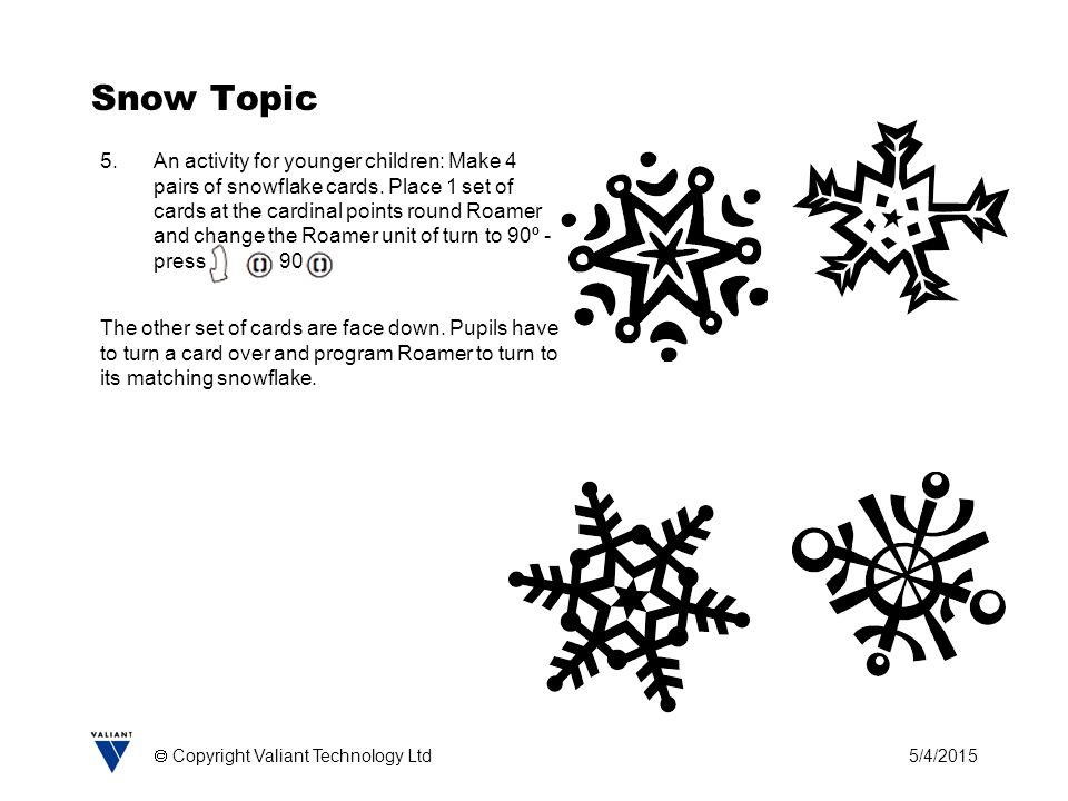 5/4/2015  Copyright Valiant Technology Ltd Snow Topic 5.An activity for younger children: Make 4 pairs of snowflake cards.