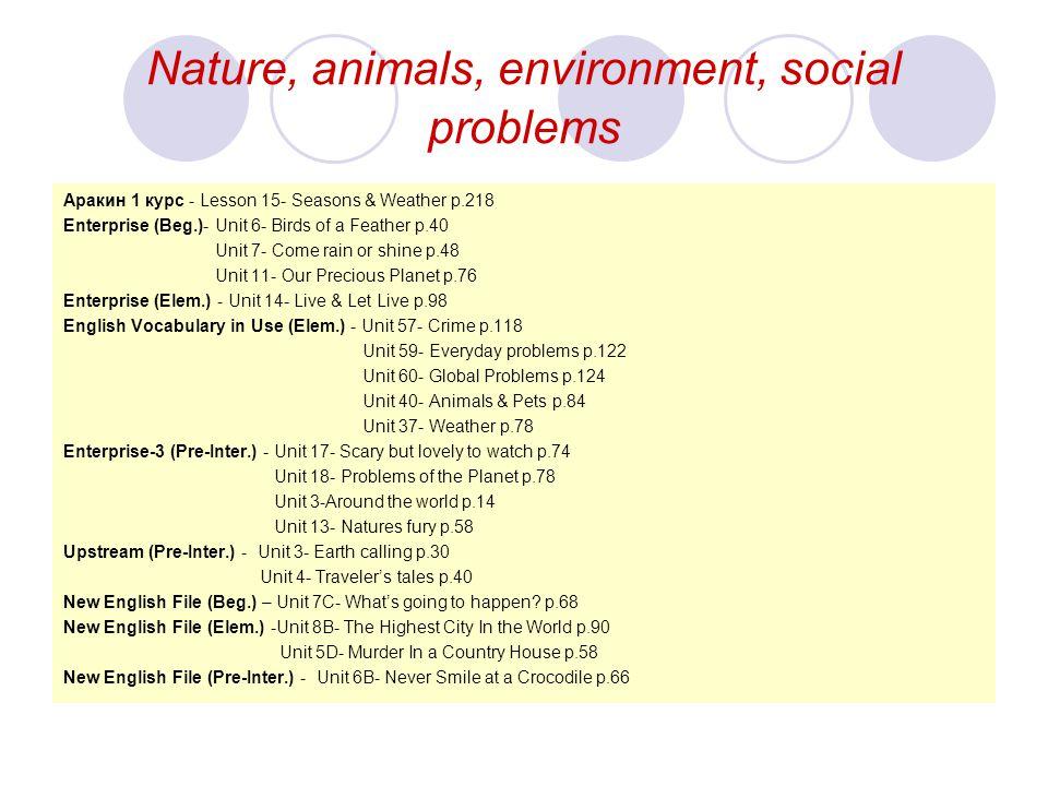 Nature, animals, environment, social problems Aракин 1 курс - Lesson 15- Seasons & Weather p.218 Enterprise (Beg.)- Unit 6- Birds of a Feather p.40 Un