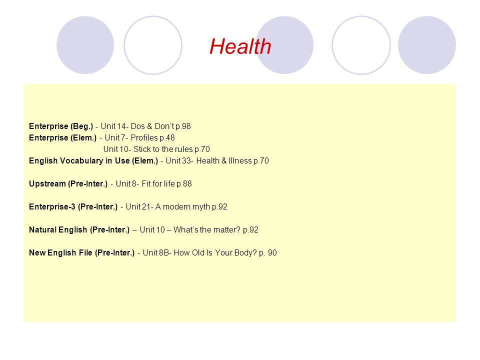 Health Enterprise (Beg.) - Unit 14- Dos & Don't p.98 Enterprise (Elem.) - Unit 7- Profiles p.48 Unit 10- Stick to the rules p.70 English Vocabulary in