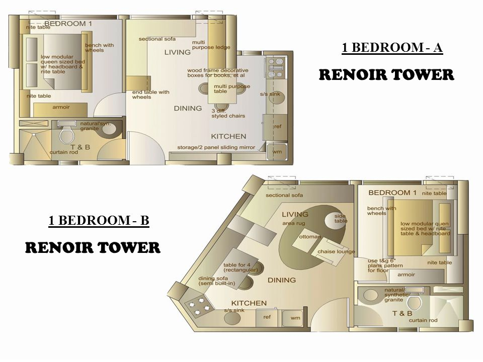 1 BEDROOM - A RENOIR TOWER 1 BEDROOM - B RENOIR TOWER
