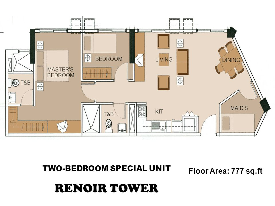 TWO-BEDROOM SPECIAL UNIT RENOIR TOWER Floor Area: 777 sq.ft