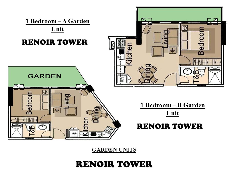 GARDEN UNITS RENOIR TOWER 1 Bedroom – B Garden Unit RENOIR TOWER 1 Bedroom – A Garden Unit RENOIR TOWER