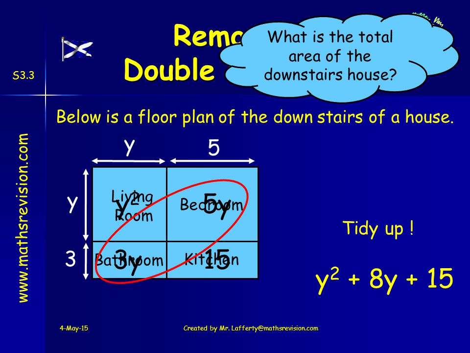 www.mathsrevision.com S3.3 Below is a floor plan of the down stairs of a house.