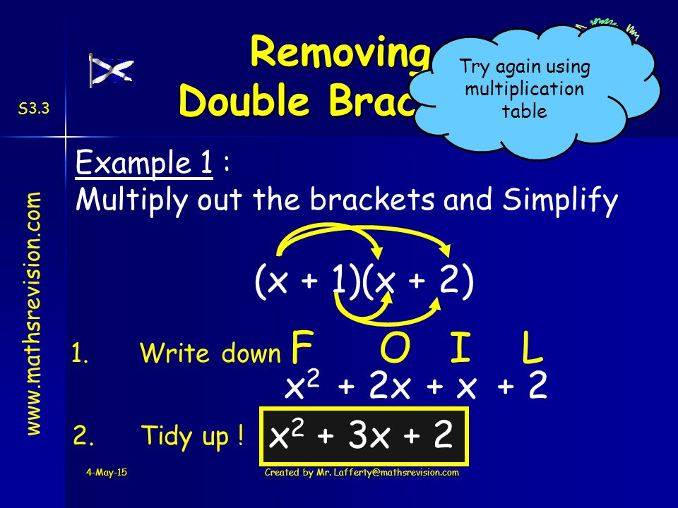 www.mathsrevision.com S3.3 (x + 1)(x + 2) x2x2 + 2x Example 1 : Multiply out the brackets and Simplify 4-May-15Created by Mr.