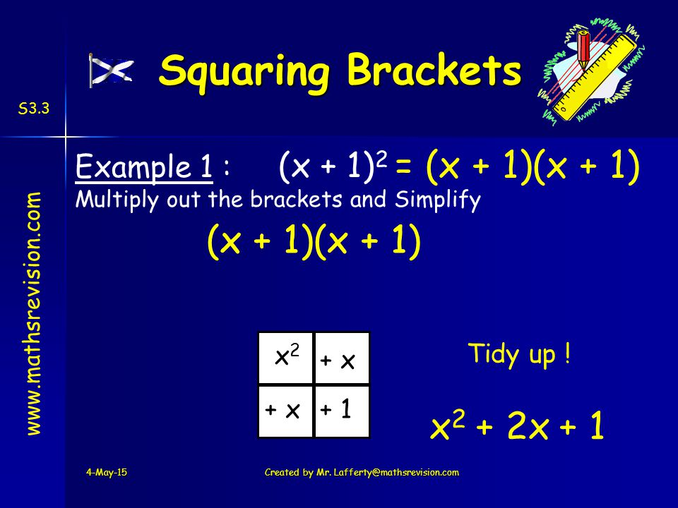 www.mathsrevision.com S3.3 = (x + 1)(x + 1) Example 1 : (x + 1) 2 Multiply out the brackets and Simplify 4-May-15Created by Mr.